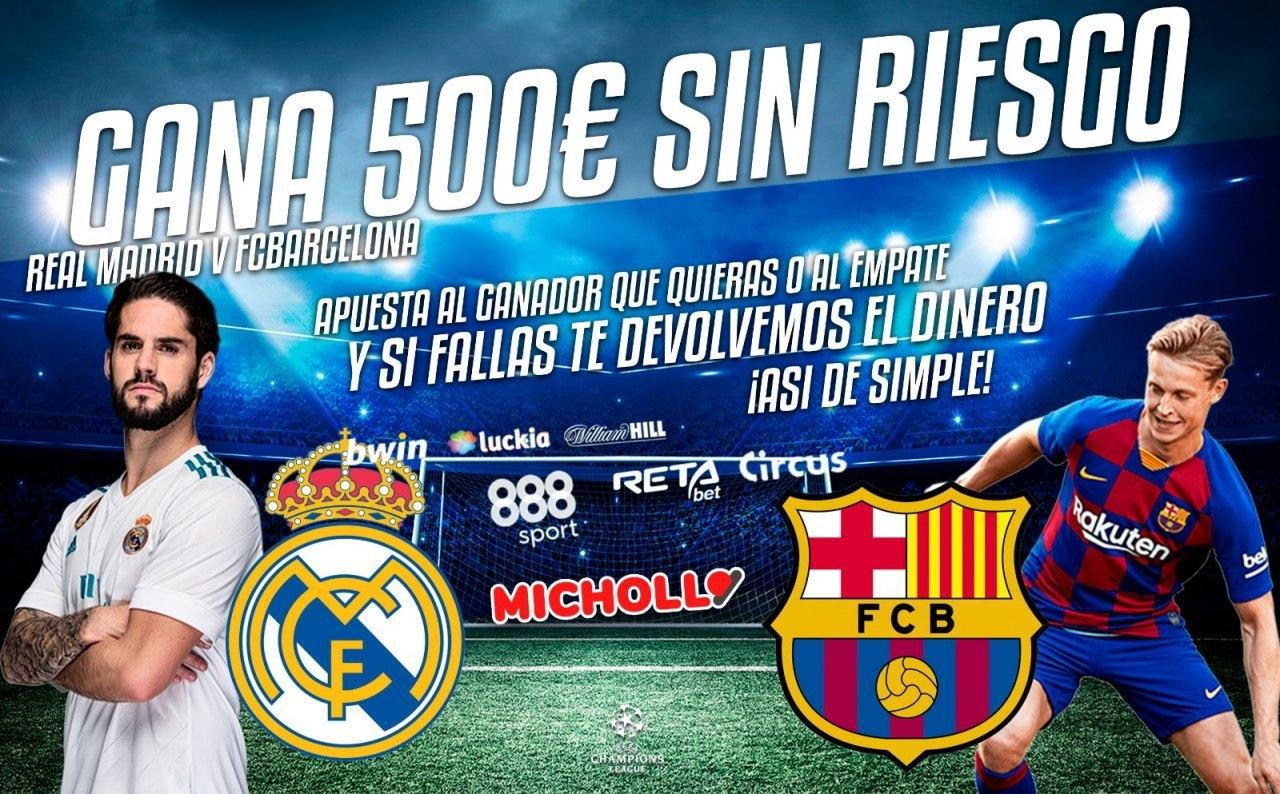 +600€ retirables en el Real Madrid vs Barcelona + 5€ por amigo invitado