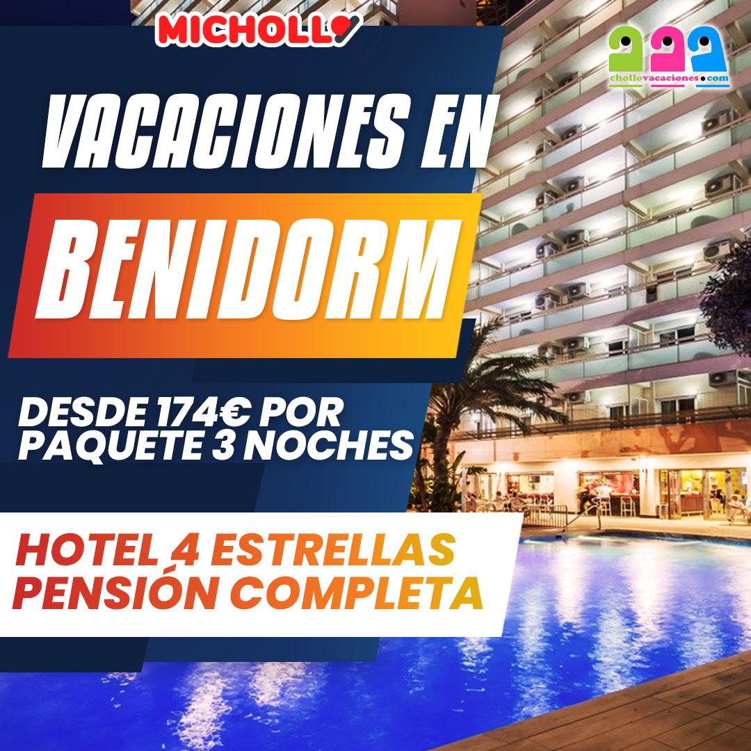 Vacaciones en Benidorm en Hotel 4 estrellas con pensión completa