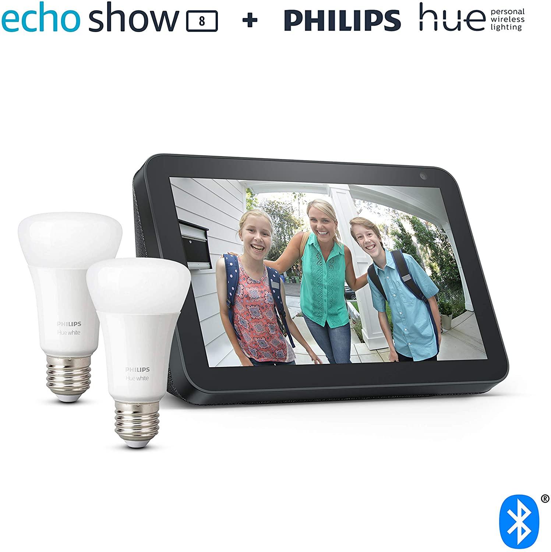 Echo Show 8 + Philips Hue White Pack de 2 bombillas LED inteligentes