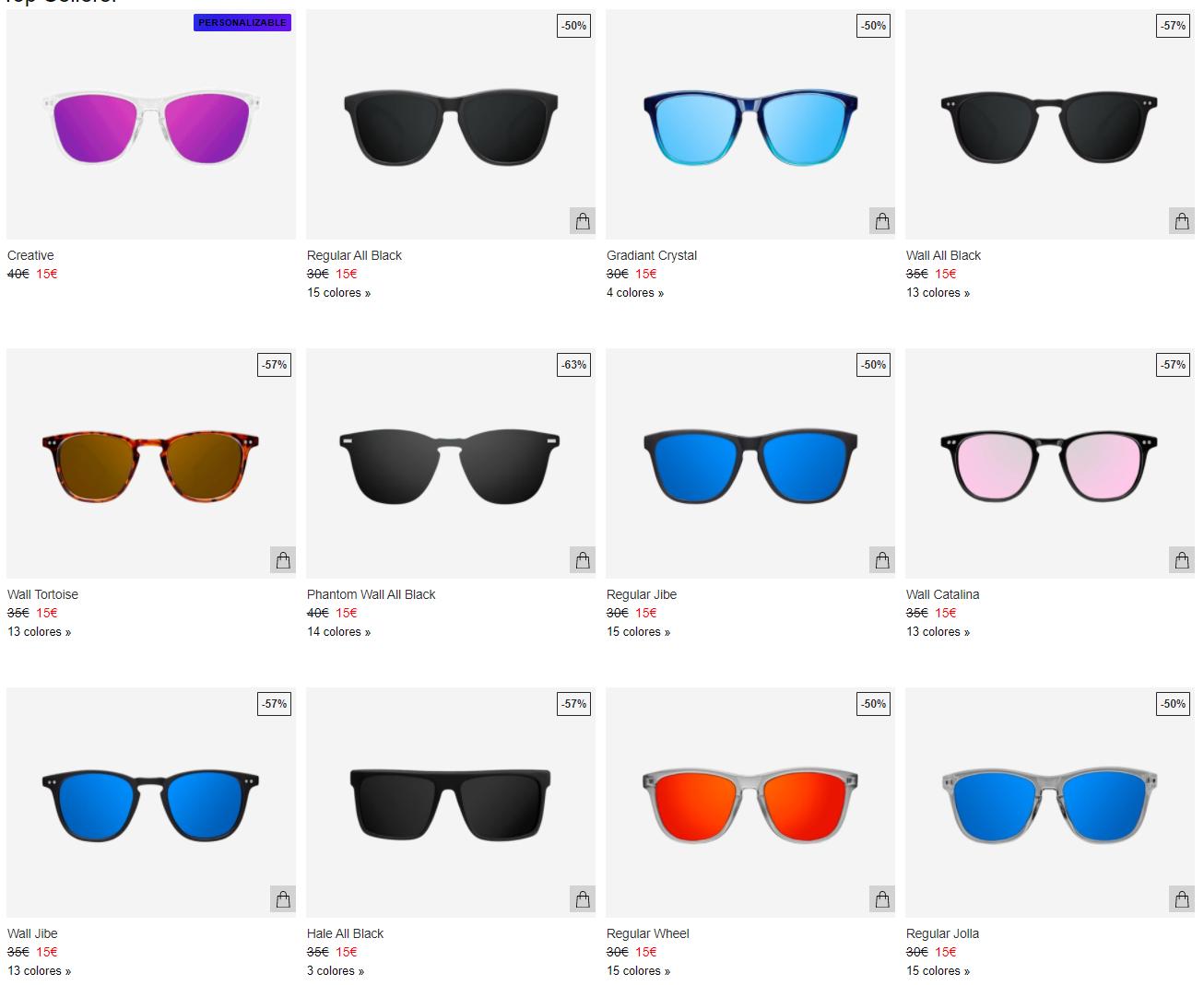 Todas las gafas en Northweek a 15€