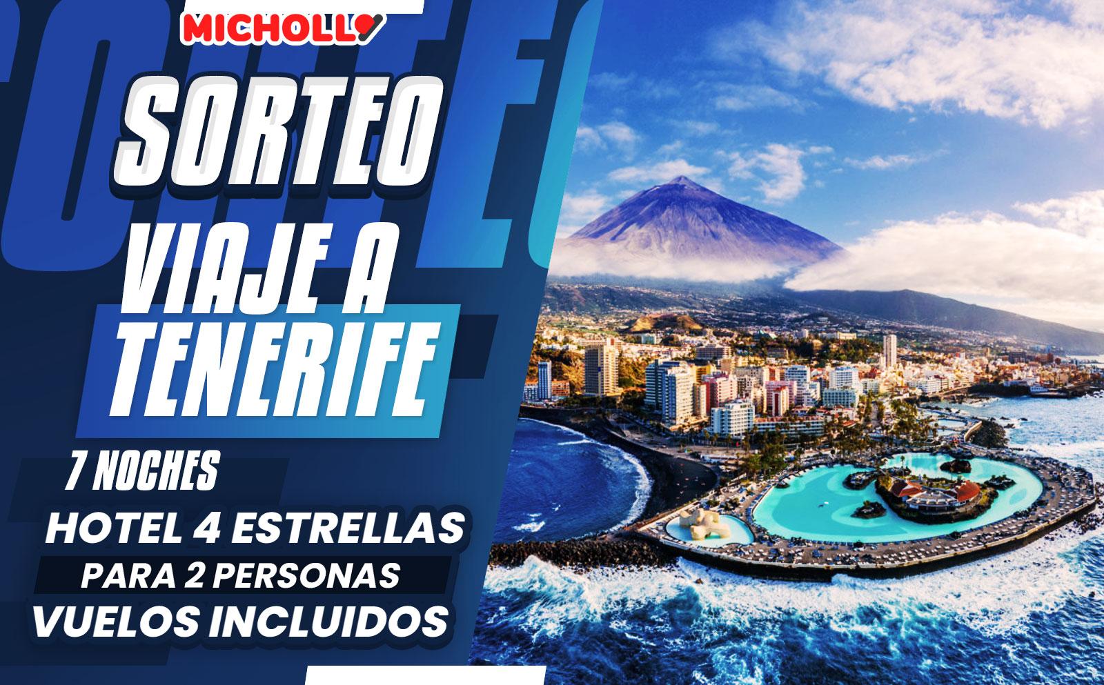 Sorteo Vacaciones Tenerife 2 personas: 7 noches hotel 4 estrellas (vuelos incluidos)