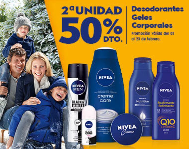 50% de dto en la 2ª unidad en Nivea + REBAJAS