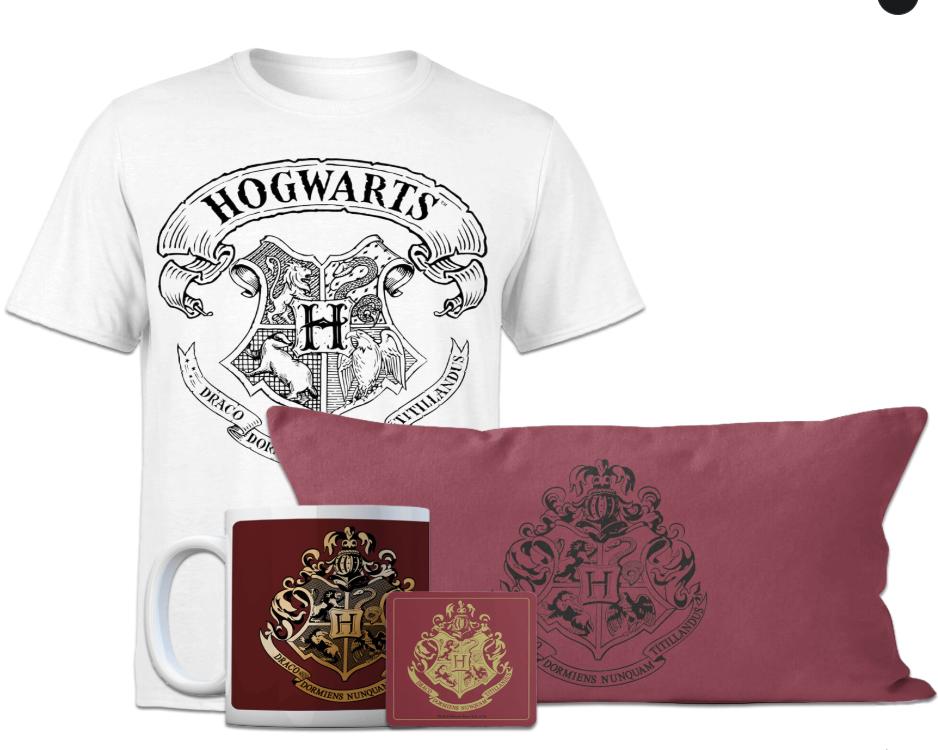 Megapack de Harry Potter: Camiseta + Cojín + Taza + Posavasos