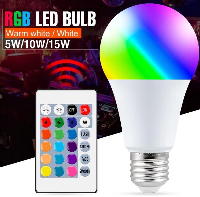 Bombilla RGB+Blanco 5W con mando