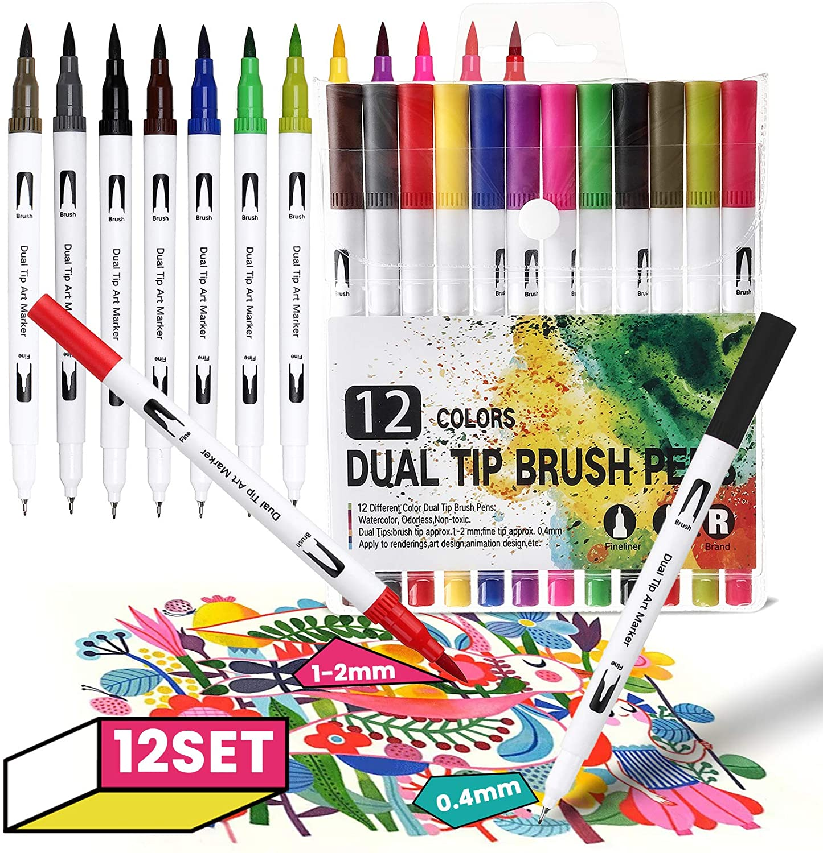12 Bolígrafos artísticos de doble punta
