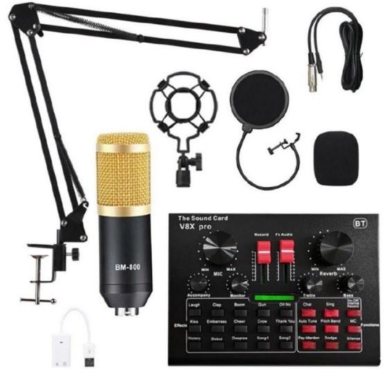 Micrófono de condensador + Mesa mezcla y efectos + Accesorios