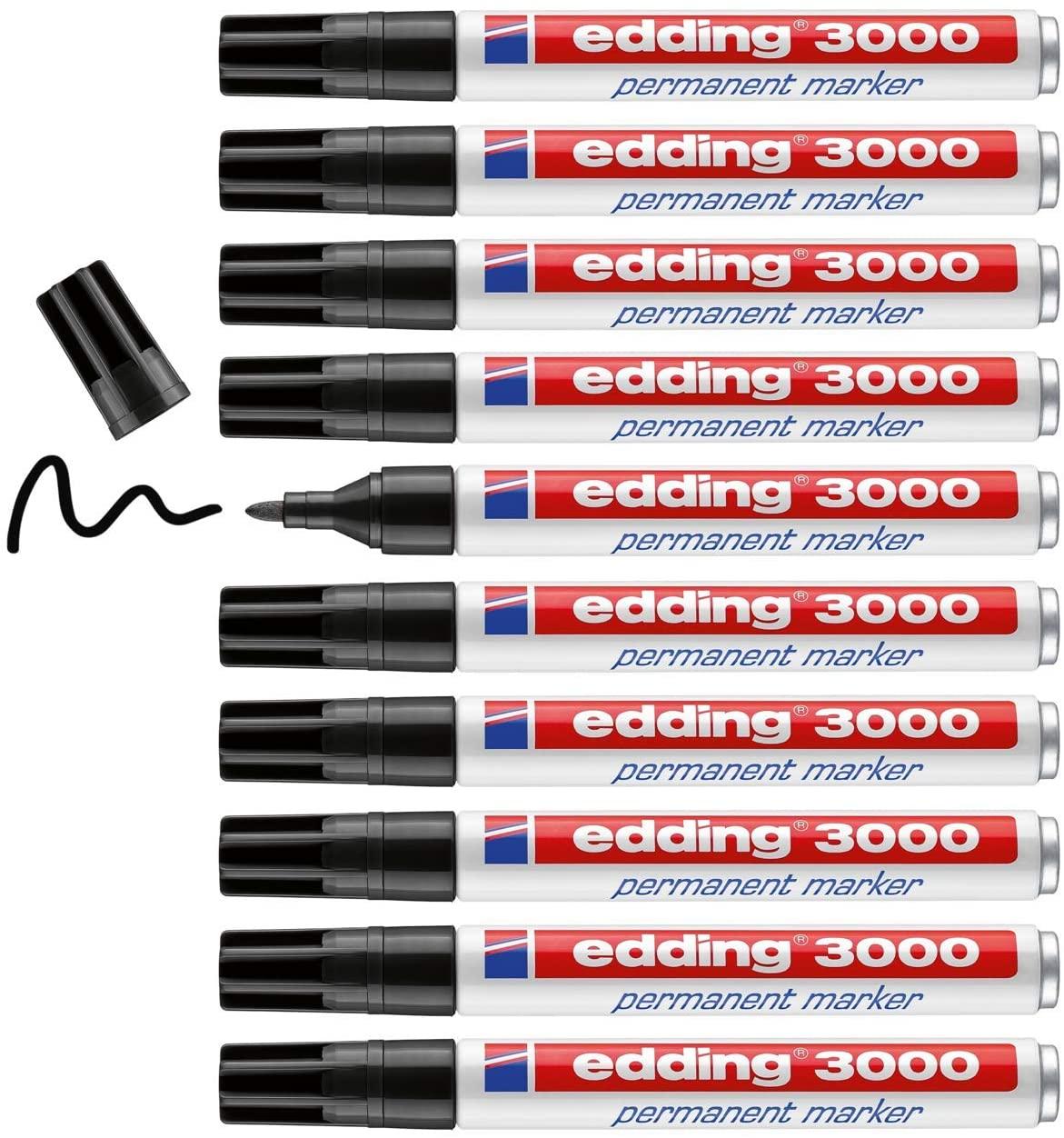 10x Marcador Permanente Edding 3000 Negro