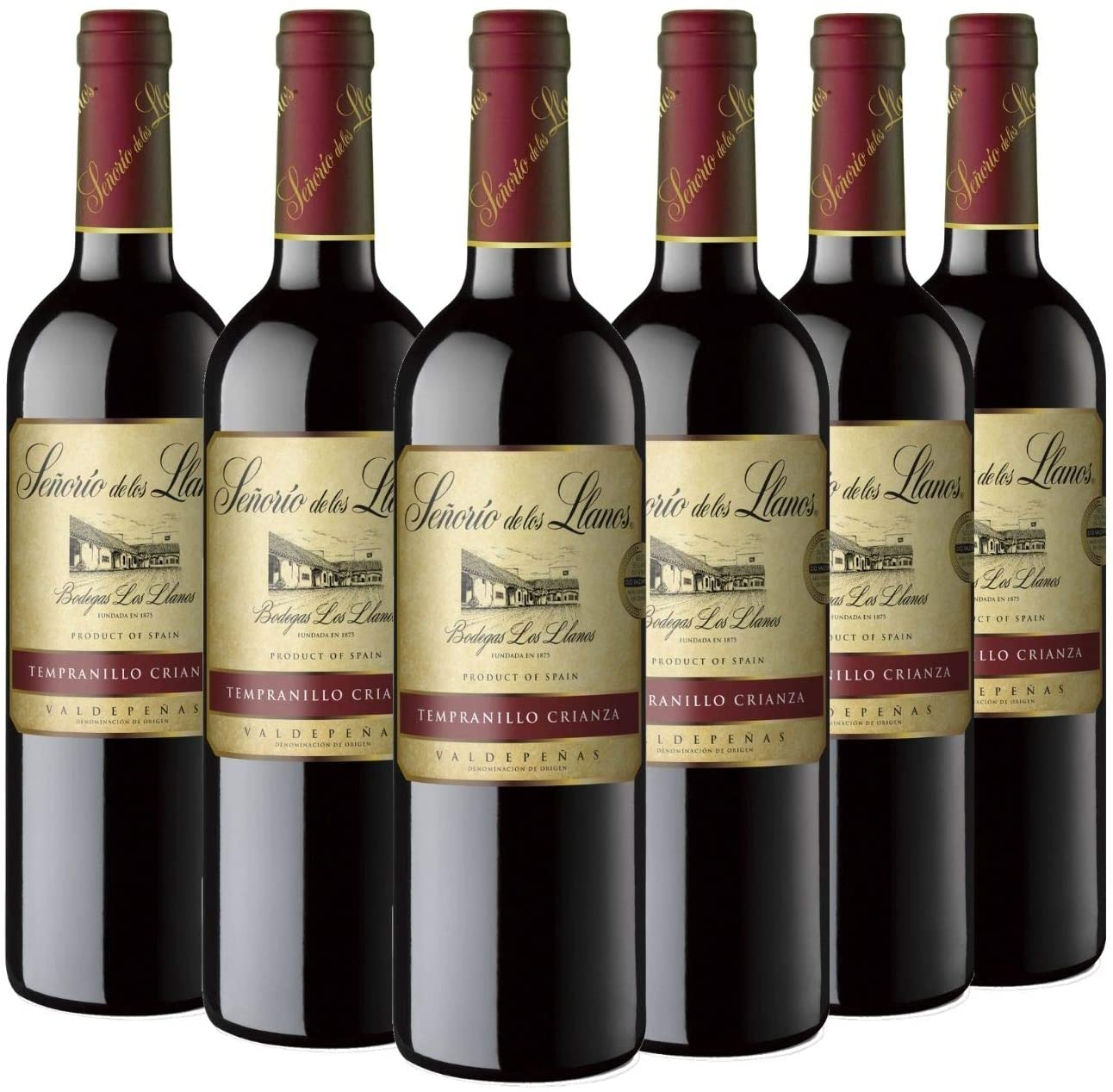 6 botellas de vino Señorío de los Llanos Crianza