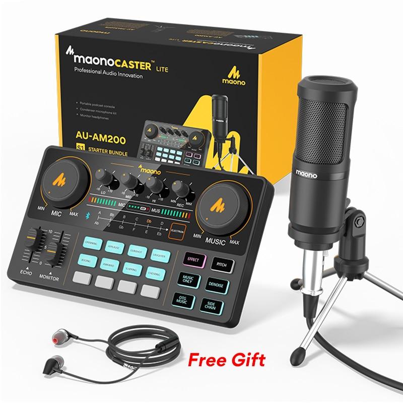 Micrófono de condensador + Trípode + Mesa efectos + cableado + Auriculares