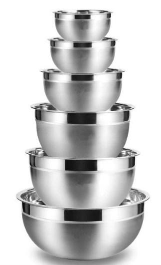 6X Cuencos de mezcla de acero inoxidable para cocina