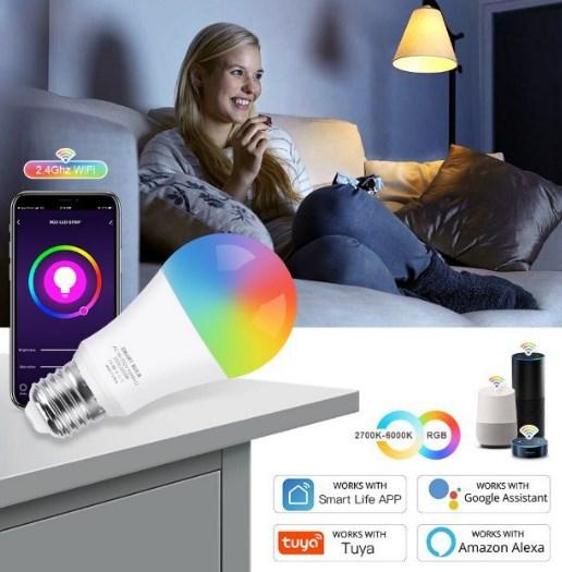 Bombilla Wifi RGB+W compatible Alexa y Google Home