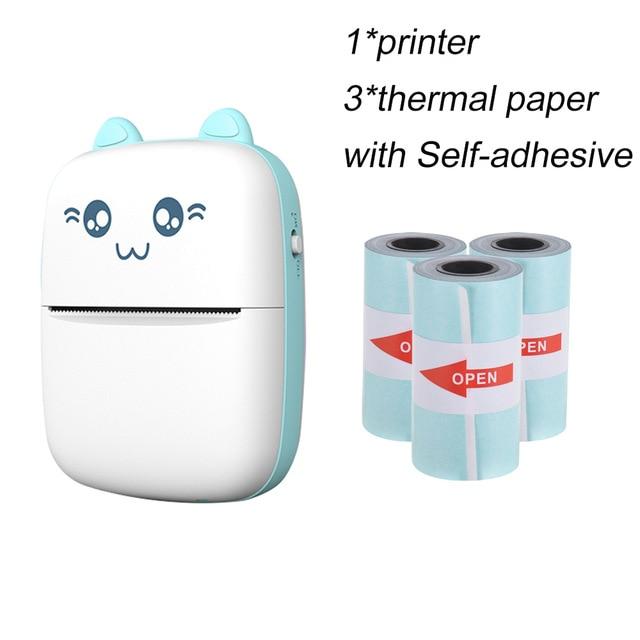 Mini Impresora térmica de bolsillo + 3 rollos de papel