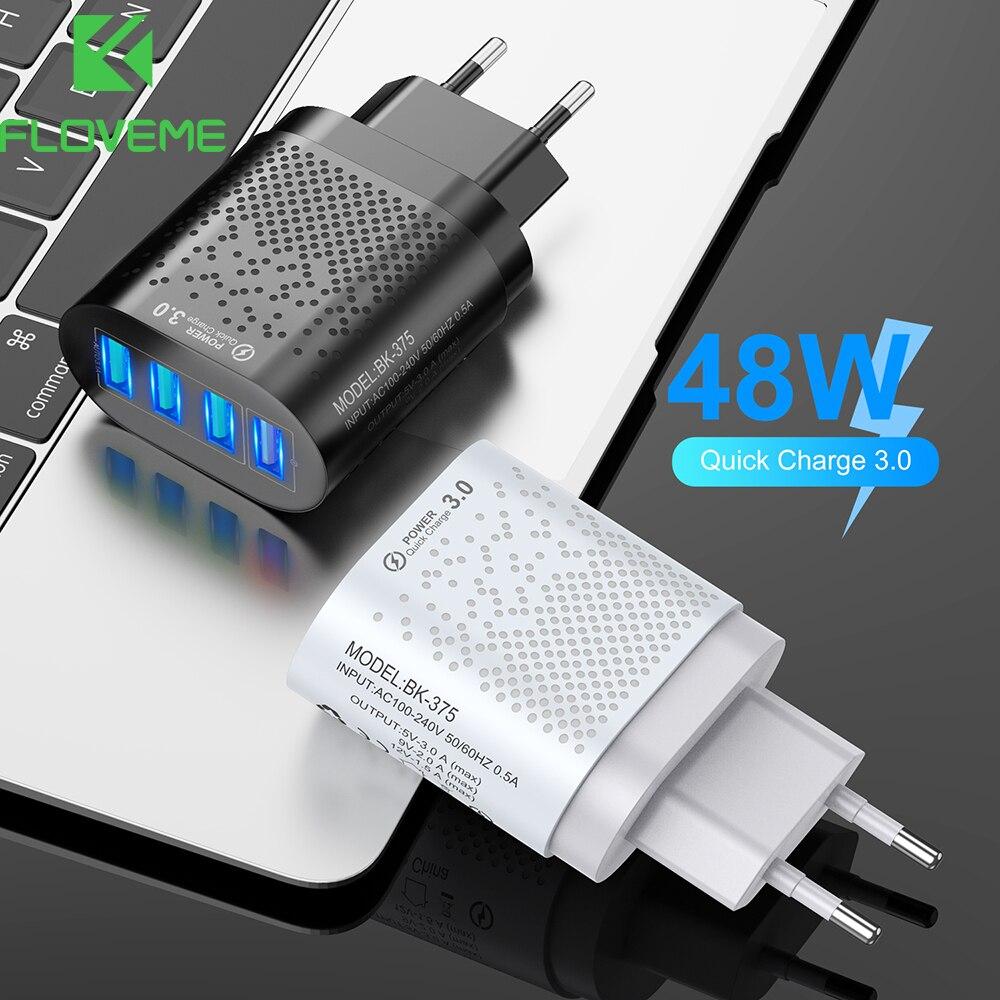 Cargador USB 4 puertos 48W + QC3.0