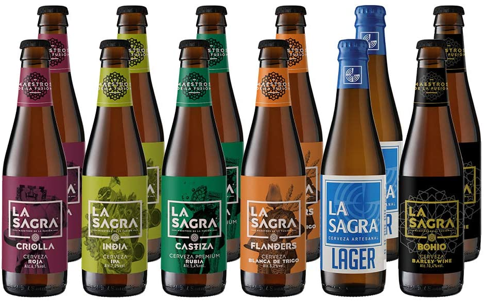 12 x 330ml Cerveza Artesanal La Sagra Pack 6 Estilos