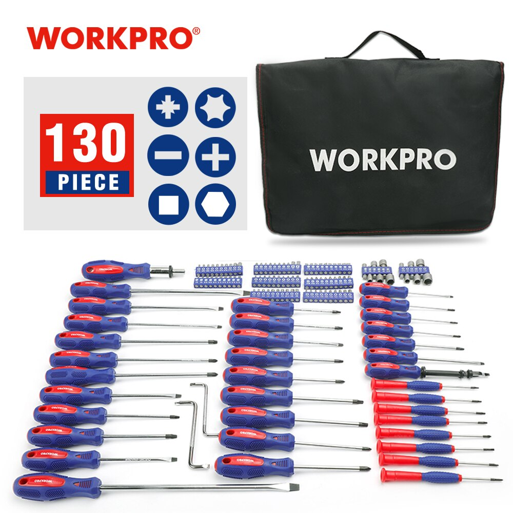 2x Sets de destornilladores Workpro con 130 piezas