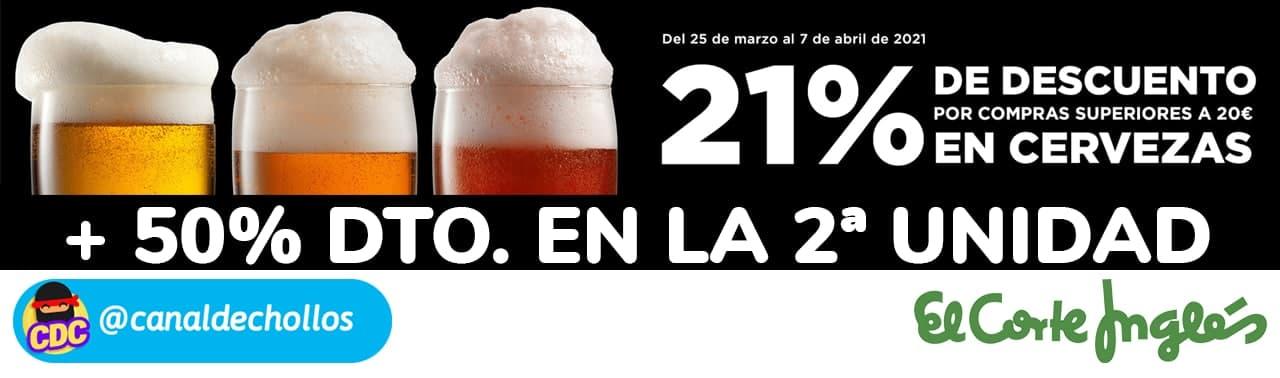 21% de dto. en cervezas + 50% dto. 2ª ud. en El Corte Inglés
