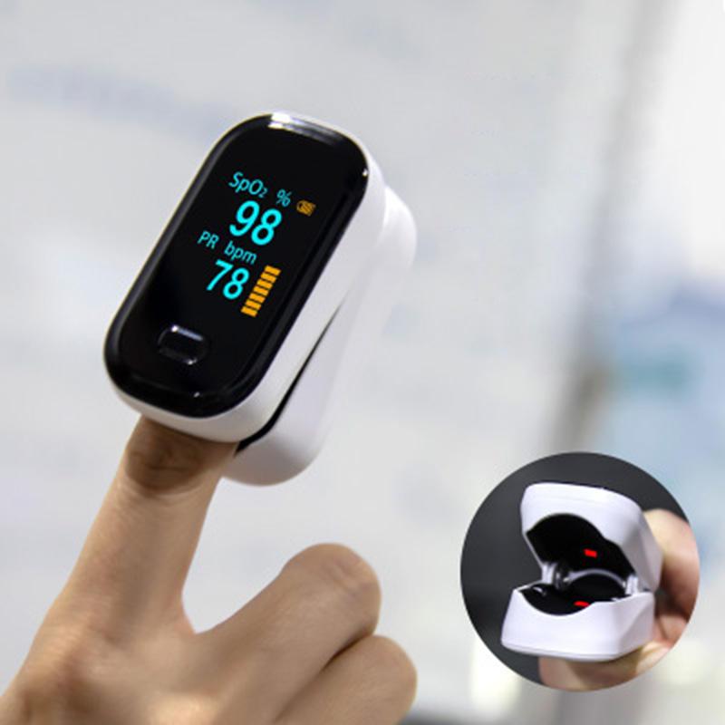Pulsioxímetro de dedo con pantalla OLED