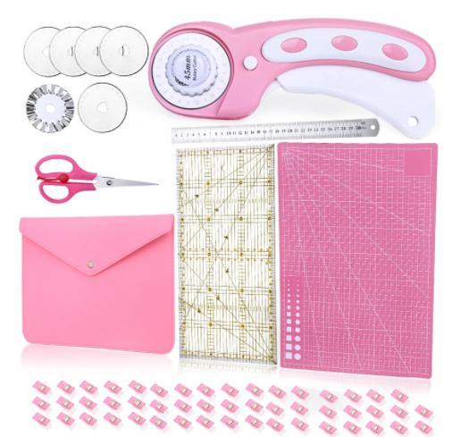 61 Uds juego de cortador rotativo rosa