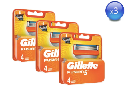 Pack 3 Gillette Fusion 5 Cuchillas de afeitar