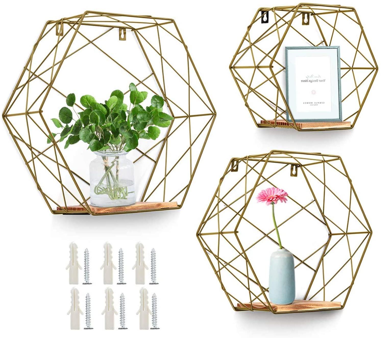 Pack de 3 estanterías de pared hexagonales