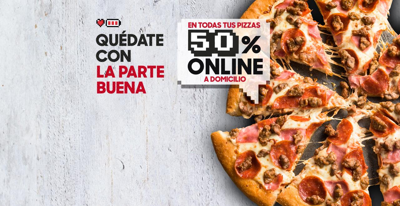 50% de Dto. en Pizzas Medianas y Familiares a Domicilio