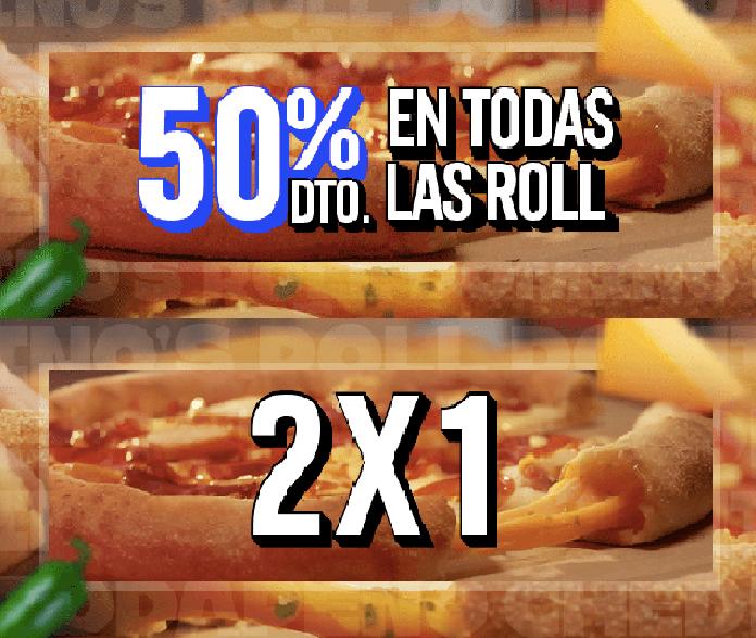 50% de Dto. en TODAS las Pizzas Medianas Roll + 2x1 en Roll y  TODAS las masas