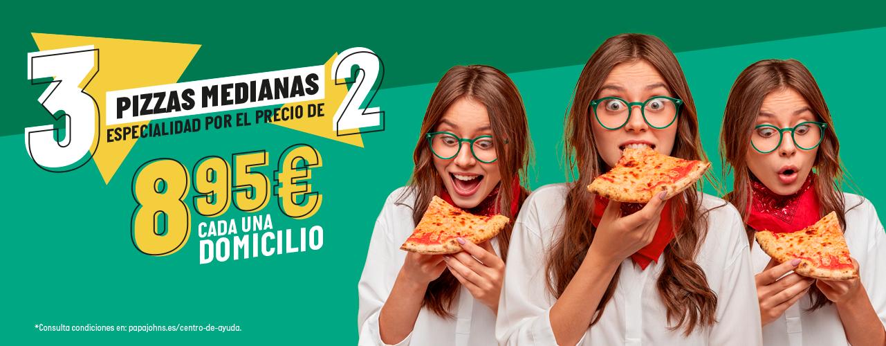3x2 en Pizzas Medianas de Papa Jhons