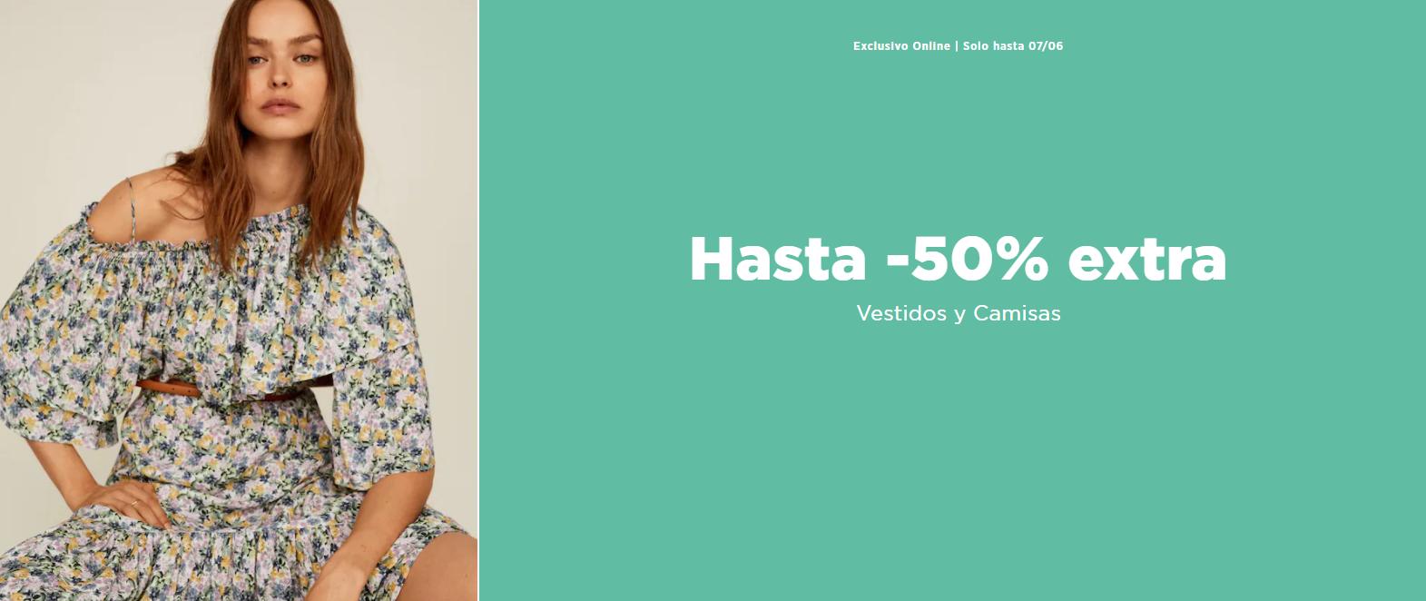 Hasta 50% de Dto. EXTRA en Vestidos y Camisas desde Mango Outlet