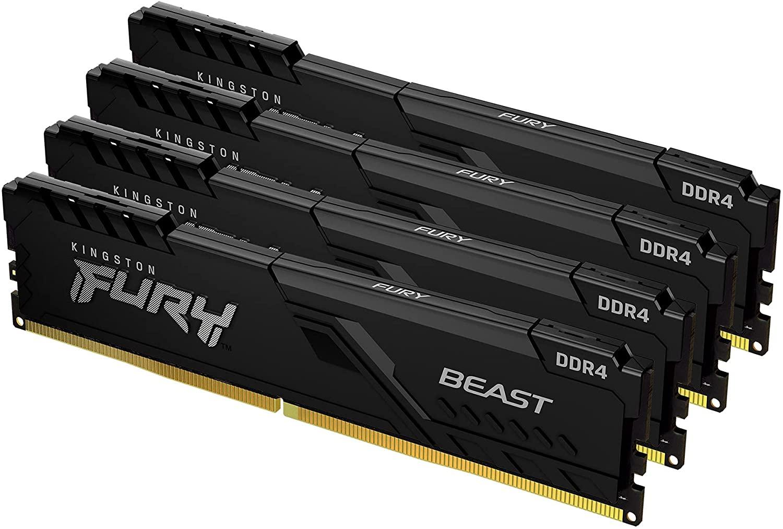 Kingston FURY Beast 128GB (4x32GB) 3600MHz DDR4 CL18 Memoria