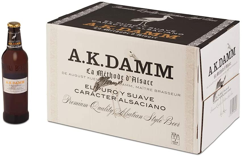 Caja de 24 Botellas de Cerveza Alsaciana A.K. Damm 33cl