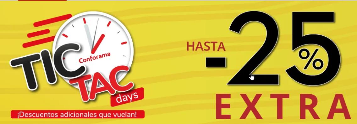 Hasta un 25% EXTRA en los Tic Tac Days de Conforama