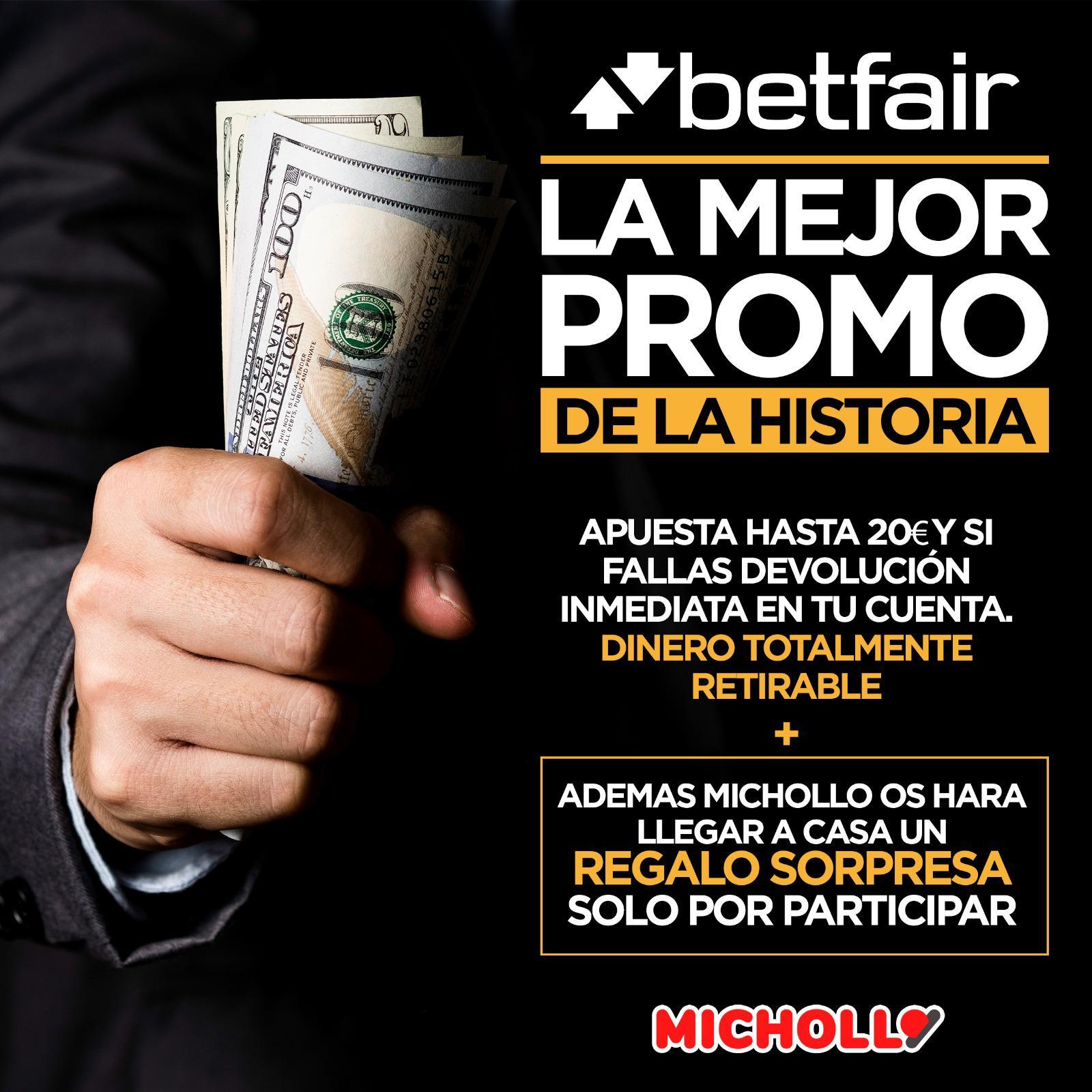 Devolución inmediata de hasta 20€ en caso de fallo con Betfair +Sorpresa