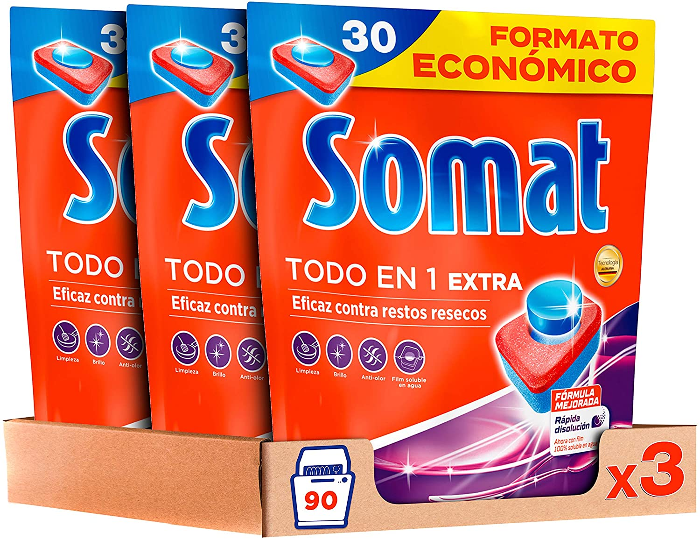 Pack de 3x30 lavados de Pastillas para Lavavajillas Somat Todo en 1