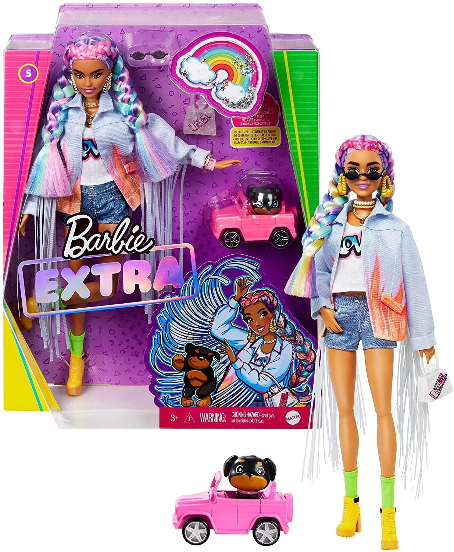 Muñeca Barbie Extra con trenzas de colores