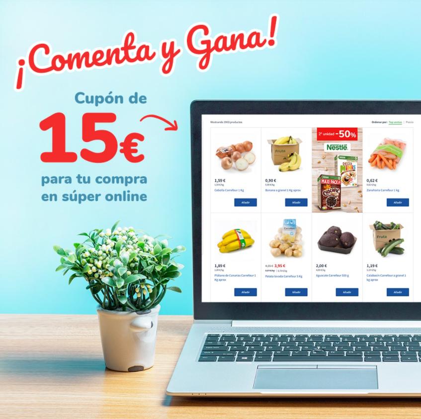 Cupón de 15€ para compras online en Carrefour