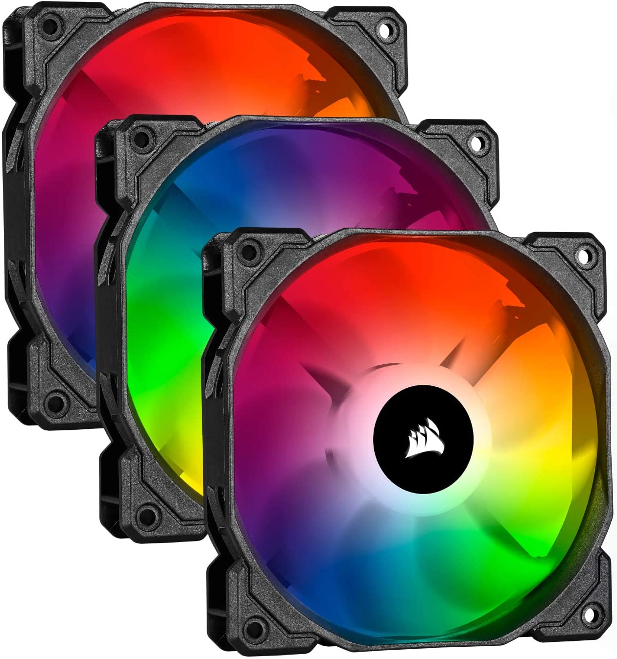 Tres ventiladores Corsair iCUE SP120 RGB PRO