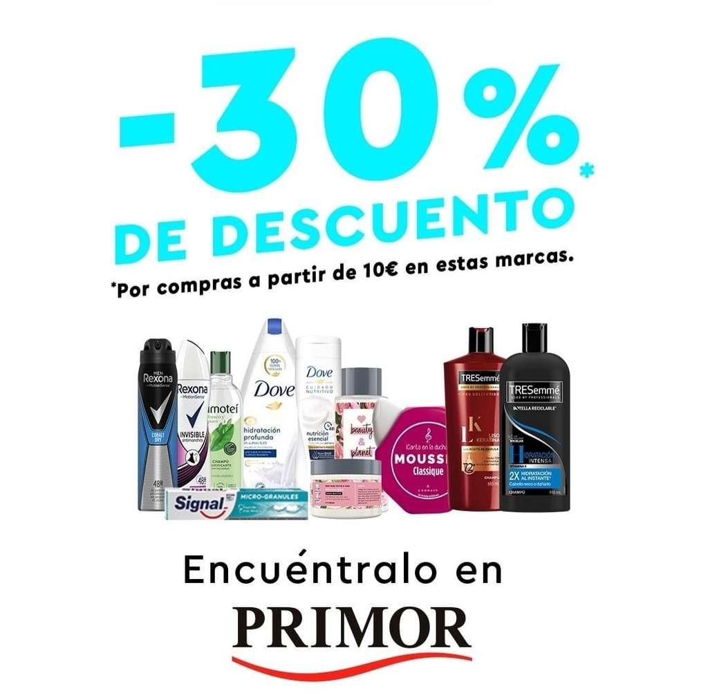 30% de descuento EXTRA en productos de higiene en Primor