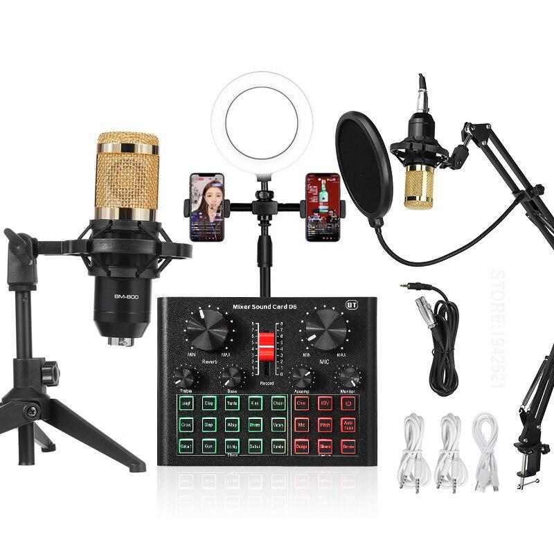 Micrófono de condensador + Mesa mezcla+ Anillo LED + Accesorios