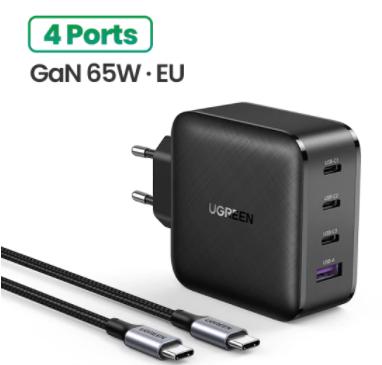 Cargador Ugreen GaN 4 puertos USB 65W