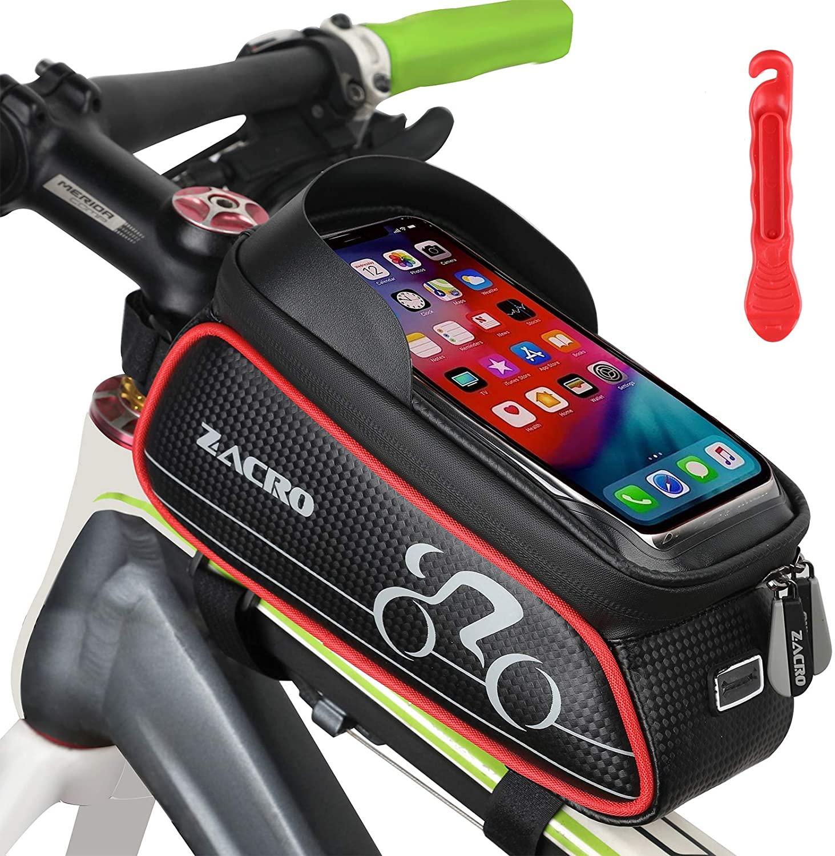 Bolsa para bicicleta con soporte de smartphone