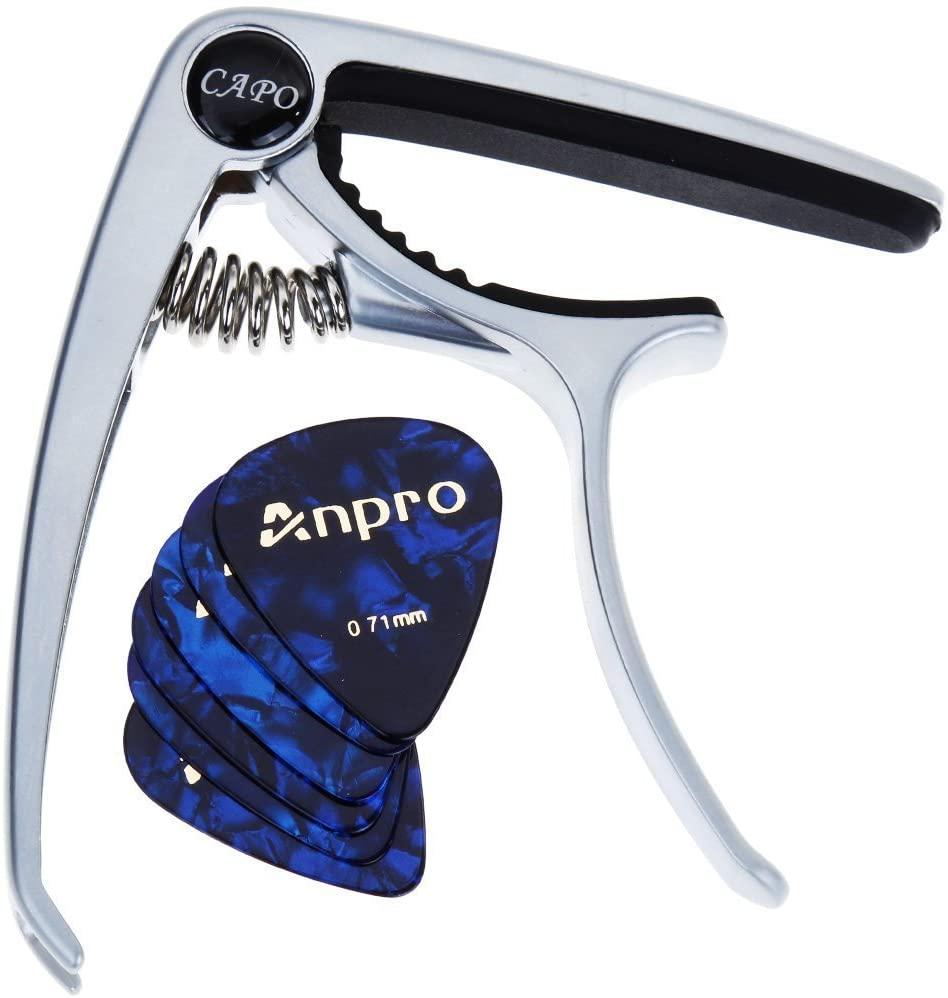 Cejilla para guitarra Anpro + 6 púas