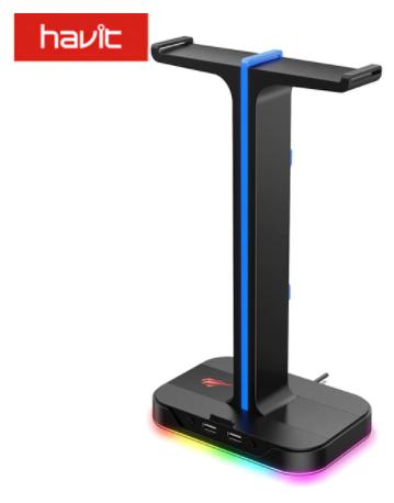 Soporte RGB para Auriculares y Cargador USB