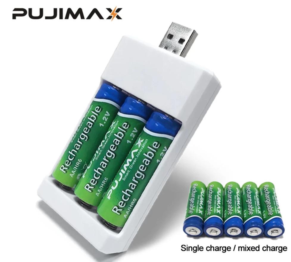 Cargador de pilas AA y AAA por USB