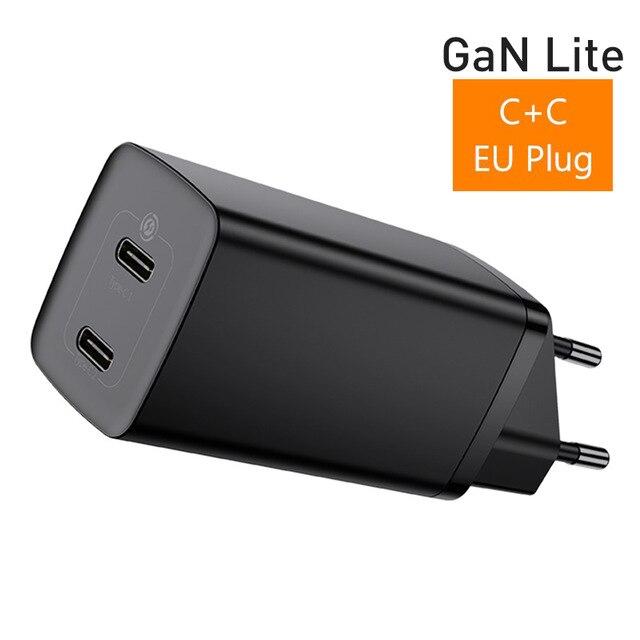 Cargador QC Baseus 65W GaN Lite Dual USB-C