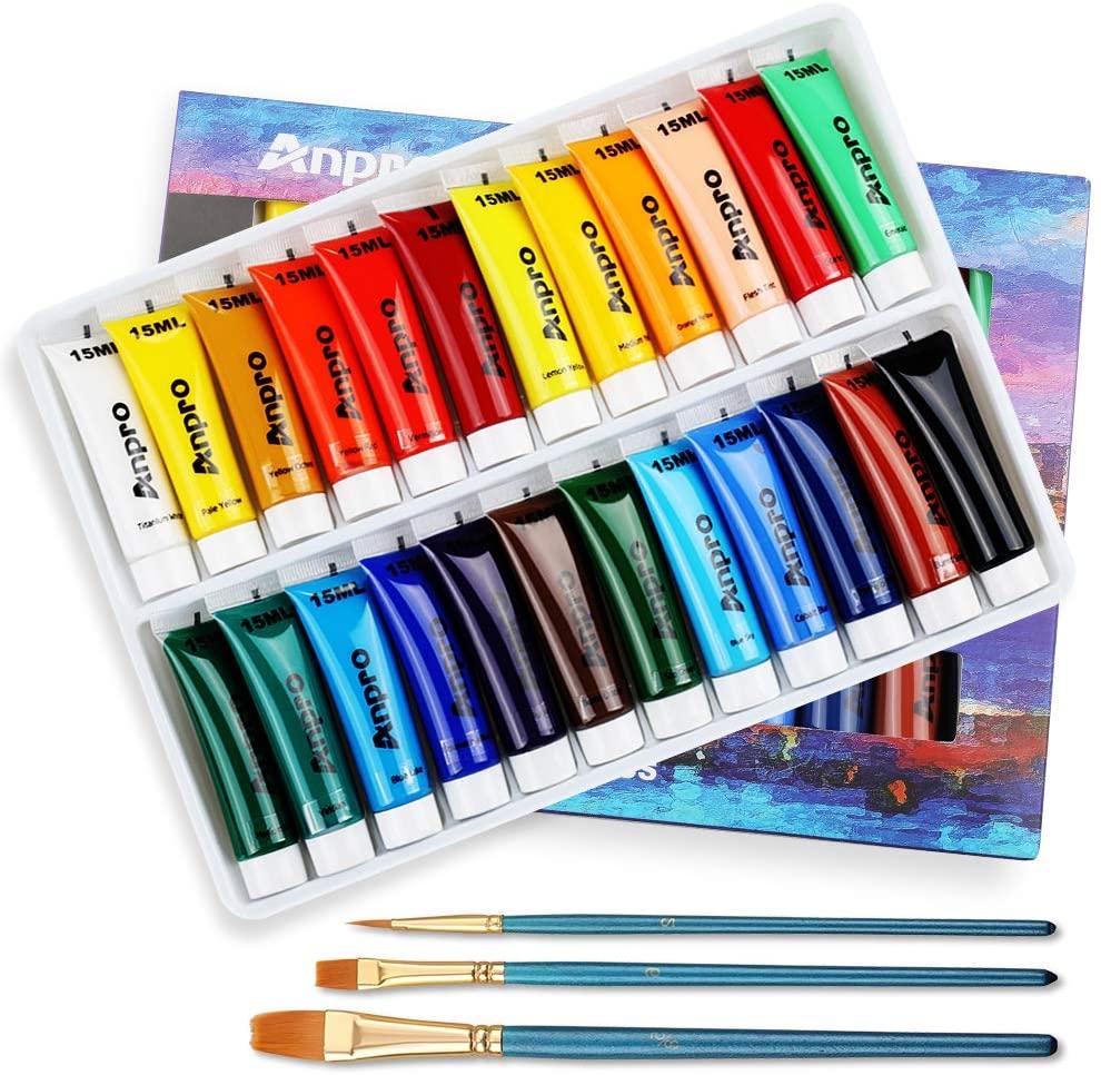 Anpro Juego de Pintura Acrílica de 24 Colores