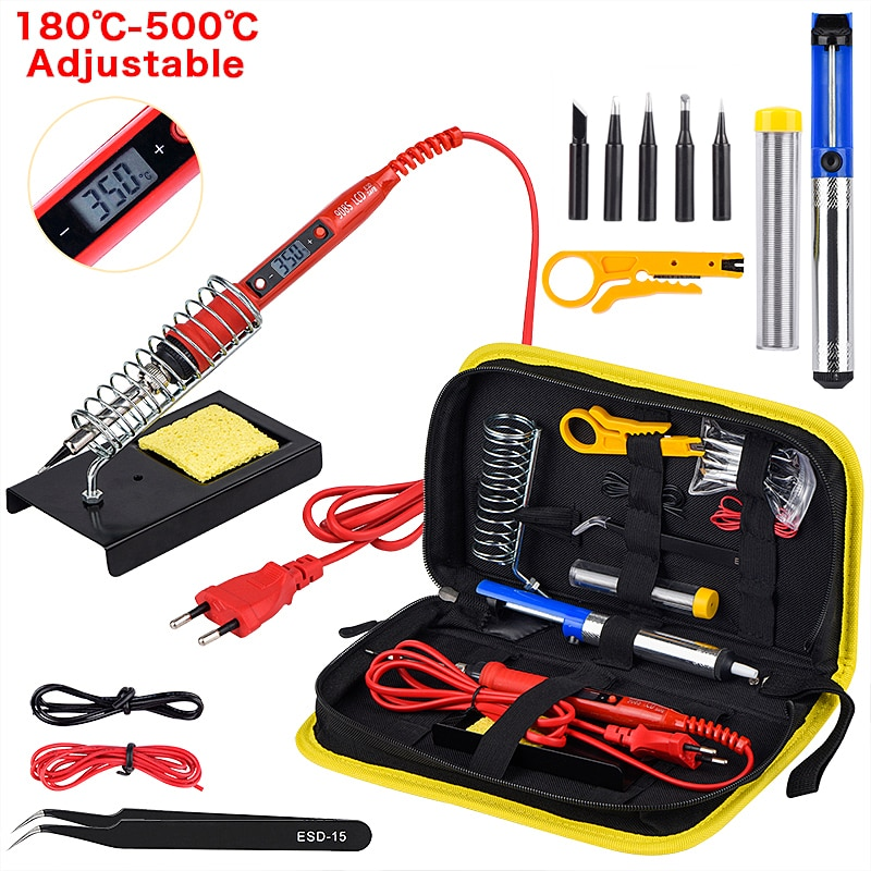 Kit soldador 80W + 5 puntas + estaño + funda y accesorios
