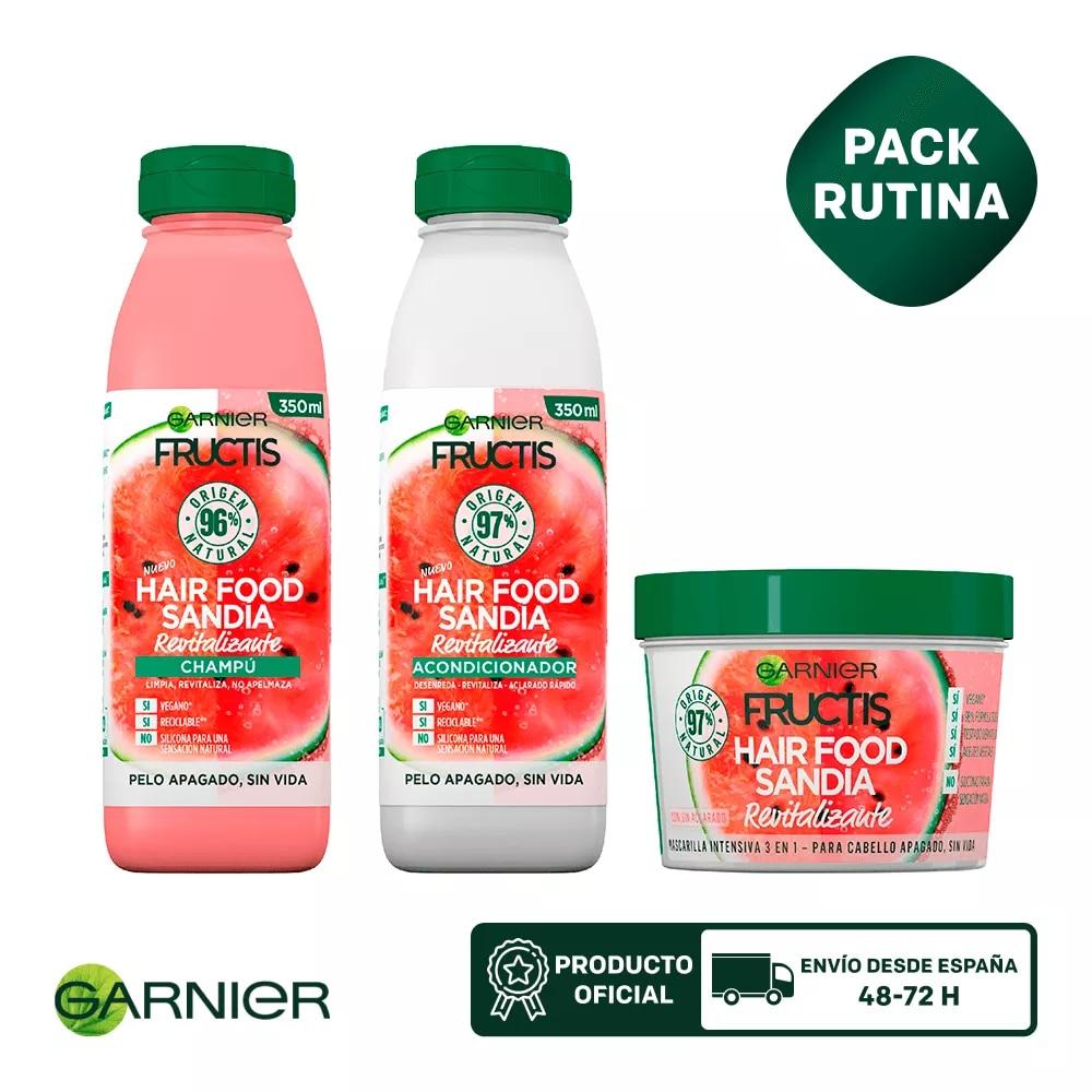 GARNIER Fructis Hair Food Champu + Mascarilla para reparadora 3 en 1 + Acondicionador