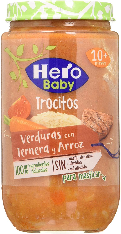 Hero Baby Tarritos con trocitos de verdura, ternera y arroz pack de 12