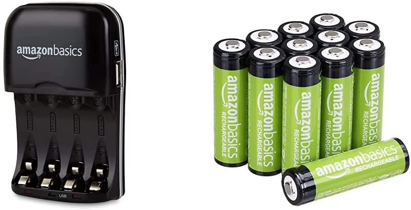 Cargador de pilas USB rápido AmazonBasics + 12 pilas recargables AA