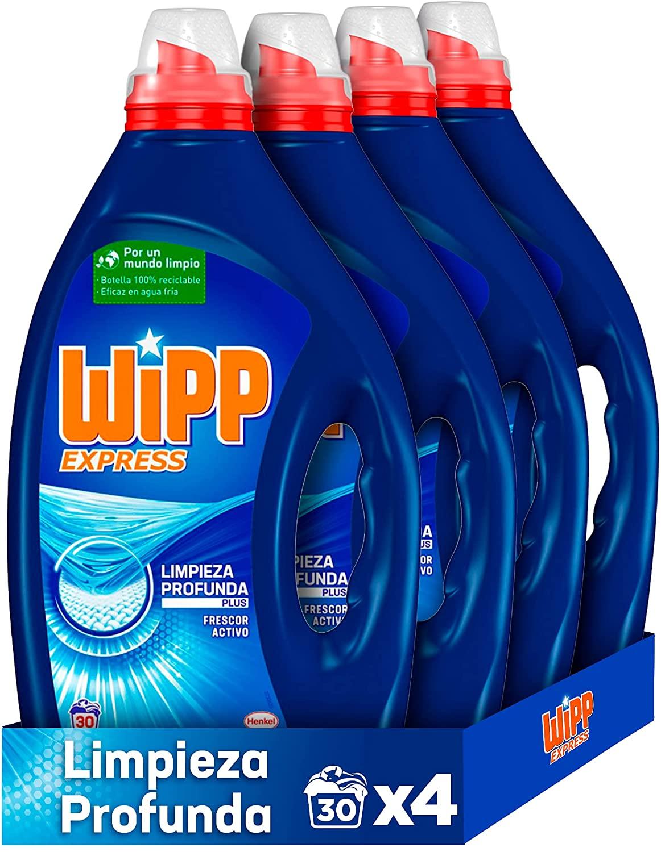 Wipp Express Detergente Líquido Azul Pack de 4 Total 120 Lavados